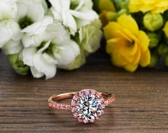 2.50 CT Engagement Ring Round Cut Halo Solid 14k or 18k Rose Gold , Halo Engagement Ring, Rose Gold Engagement Ring, Pink Sim Diamond Ring