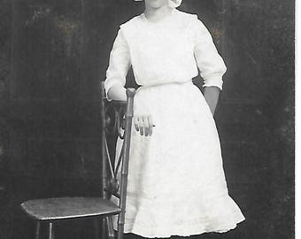 Pinafore and Bow Girl - 1910s - Antique Photo