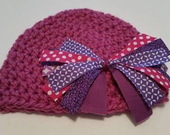 Baby Girl Hat, Crocheted Newborn Beanie Hat, size 3 months, Newborn Hat, Baby Shower Gift
