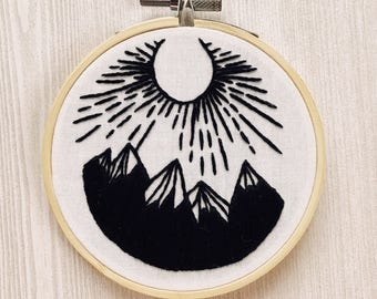 Mountain and Sun Handmade Embroidery - Monochrome, Black and White