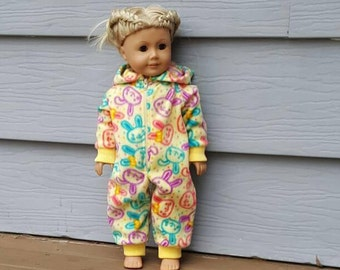 Trendy Zipper Front One Piece Pajama Made for  All 18 Inch Dolls Like - American Girl - Journey Girl - Maplelea - Newberry - My Life Doll