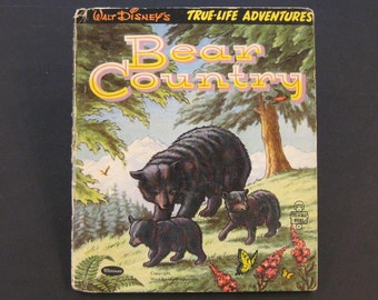Walt Disney's BEAR COUNTRY  vintage Tell a Tale tales 2 cubs 1954 Nice!!