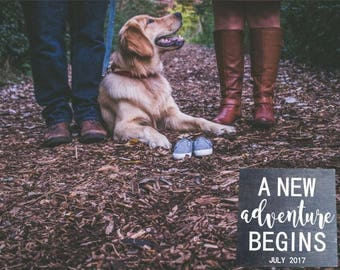 A New Adventure Begins! Custom Last Name, Due Date Pregnancy Announcement Puppy Adoption Sign Photo Prop. Dog Sibling, Puppy Sibling