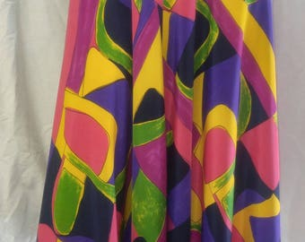 COLOURFUL VINTAGE 1980's skirt - dreamy soft and silk like - classic 80's - super drape.