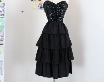 1950s Dress - Black Sequin Party Dress - Strapless Tiered Evening Dress - Classic Elegant LBD Vintage Cocktail Dress - Size Medium
