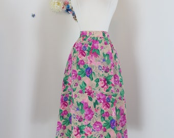 "1940s 50s Skirt - Floral Multicoloured Midi - Full Flare Skirt - Pockets - Pink Green Beige - Handmade Vintage - Size Extra Small 25"" Waist"