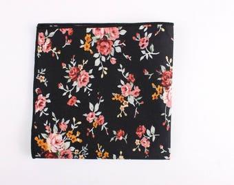 B3 Floral Pocket Square | Flower | Black | Pink | Groom | Ideas | For him | Handkerchief | Wedding |