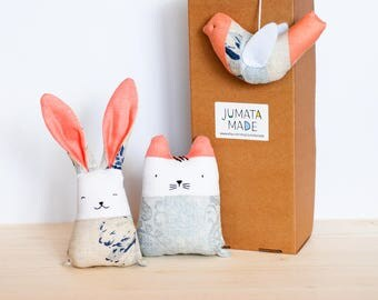 Blush coral baby rabbit, fabric toys set. Soft baby toys in the box, linen stuffed rabbit, embroidered cat, hanging bird, gift for new mom