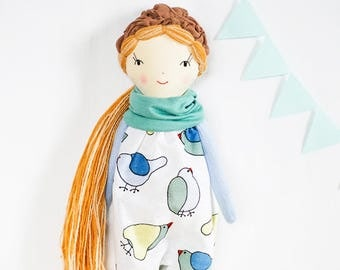 Heirloom rag doll, soft cloth fabric doll. Handmade doll, Christmas gift, nursery birds, ooak stuffed dolls, nursery decor, long hair doll