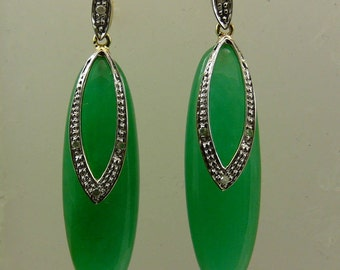 Green 9 x 30 mm Jade Earrings 14k Yellow Gold and Diamonds 0.06ct