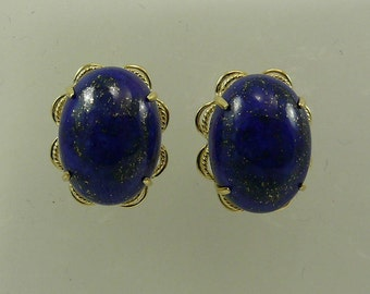 Lapis 16.3 mm x 12.1 mm Earring 14k Yellow Gold