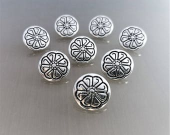 8 round buttons 12 mm engraved metal color silver