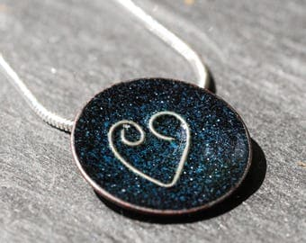 Midnight blue and silver disc pendant