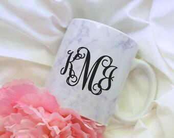 Marble Print Monogram Coffee Mug, Sublimation Mug, 2 Sided, Vine Monogram, Marble Print