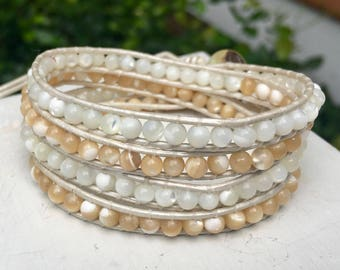 White and Tan Beaded Leather Wrap Bracelet/Beaded Anklet/Chan Luu Style/Boho Wrap/Stack Bracelet/Layer Wrap/Gift for Her/Mother of Pearl