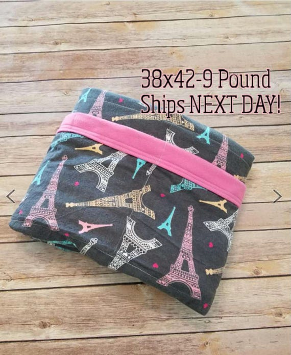 Eiffel Tower, 9 Pound, WEIGHTED BLANKET, Ready To Ship, 9 pounds, 38x42 for Autism, Sensory, ADHD