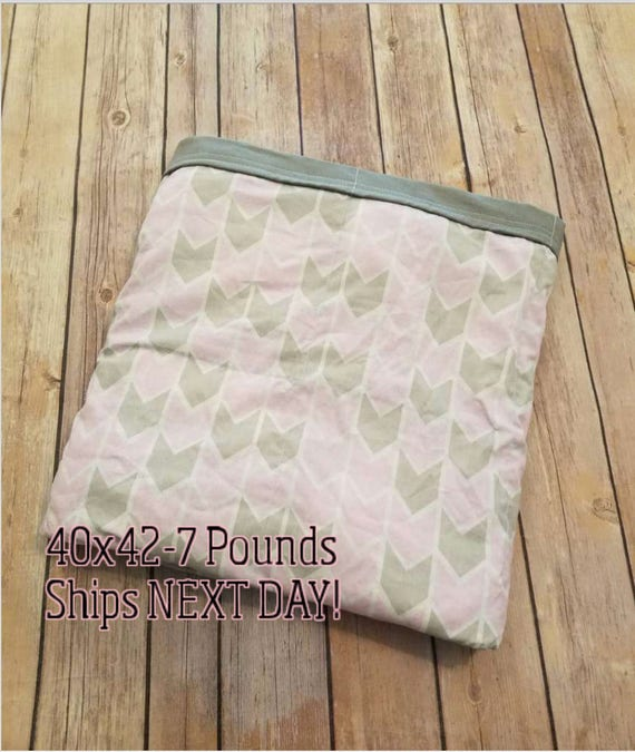 Pink Arrow, 7 Pound, WEIGHTED BLANKET, Ready To Ship, 7 pounds, 40x42, for Autism, Sensory, ADHD, Calming