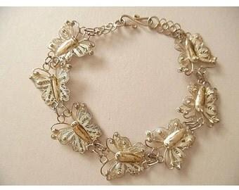 Vintage Sterling Silver Butterfly Filigree Link Bracelet