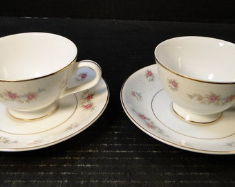 TWO MT Hira Rose Wreath Tea Cup Saucer Sets 6121 2 EXCELLENT!