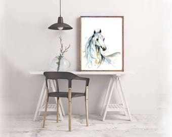 White Horse Art Print, Watercolour Nursery Art, wall art, art print home decor, Poster, Painting, Unicorn, Foal, colt, mare, filly, stallion