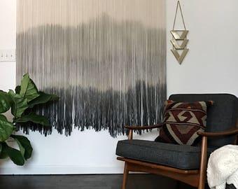CUSTOM LARGE Wool Dip Dyed Wall Hanging || Fiber Wall Hanging || Boho Handmade Tapestry