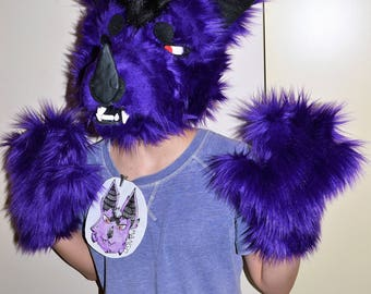 Bat Fursuit Partial, Purple and black, wolf fursuit, purple mask & paws, mask, fursuit, halloween costume