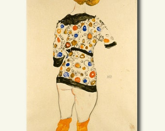 Printed On Textured Bamboo Art Paper - Standing Woman in A Patterned Blouse 1912 - Egon Schiele Print Schiele Poster Gift Idea  bp
