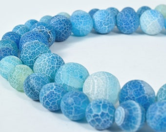 Gemstone agate stone Beads 10mm Matte Agate Sea Colored Round Beads Stone round loose birthstone Beads for jewelry 30 PCs #0253