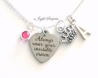 Always wear your Invisible Crown Necklace, Crown Jewelry, Silver Charm Tiara, Gift letter initial birthstone custom personalized daughter