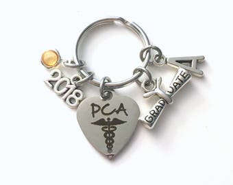 Graduation Gift for PCA Keychain, 2018 Scroll charm Patient Care Assistant or Personal Key chain Keyring for her women letter initial custom