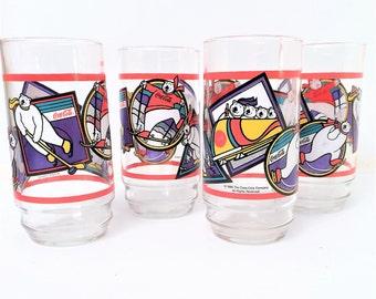 Coke Glasses Coca Cola Polar bear Olympics 1995, set of 4