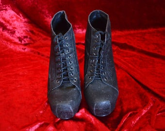 Vintage Glitter Club Glam Ankle Boots Heels Sz 7