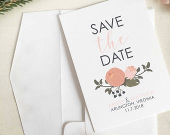 Spring Save The Date, Pink And Navy Wedding Invitation, Floral Save The Date, Invitations, Navy And Pink Save The Date, Spring Wedding