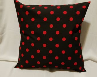 16in x 16in square pillow cover black with red dots