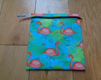 Snack Bag - Bikini Bag - Lunch Bag  - Zero Waste Medium Poppins Waterproof Lined Zip Pouch - Sandwich bag - Eco - Flamingo Tropic