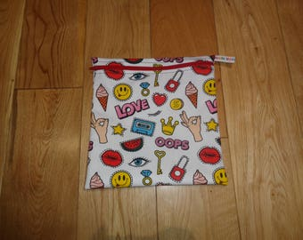 Snack Bag - Bikini Bag - Lunch Bag - Sandwich bag  - Baggie - Eco - Craft Bag - Large Poppins Waterproof Lined Zip Pouch  - Retro 80's Love