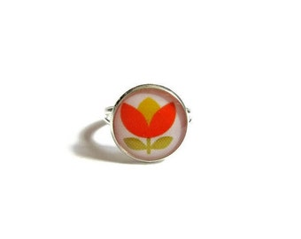 Best jewelry for GIFT FOR GIRL - Perfect gift for kids - Miniature gift - flower ring for kids - Pretty ring - orange jewelry - Mini ring
