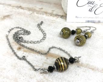 Parure avec véritables perles de Murano Noir et Or