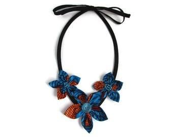 Collier fleur, collier bleu, collier orange, collier wax, collier tissu, collier tissu wax, collier coton wax, collier tissu africain