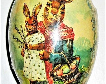 """Vintage Paper Mache Easter Egg (4.5""""X3.5"""") MOTHER & DAUGHTER Mint/Sealed Made in Germany"""