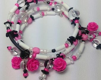 Memory wire bracelet, Bubblegum Roses, Plus Size