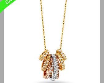 0.52 Ctw Round Brilliant Cut   7 Days Ring Necklace 14k Three Tone Gold