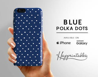 Blue Polka Dots Case iPhone 7- iphone 7 PLUS - iPhone SE - iPhone Plus - iPhone 6/6S - iPhone 5/5S - iPhone 5C - Samsung Galaxy S5 - S6 Edge