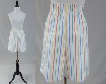 80s Striped Shorts - White w/ Red Blue Green Yellow - High Waisted - Elastic Waist - Vintage 1980s - L