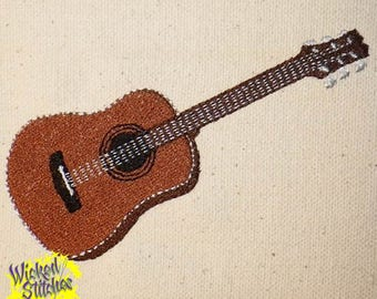 Acoustic Guitar Machine Embroidery Design, Set of 2 Sizes