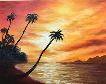 original oil painting, tropical beach