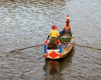 Myanmar Photography, Traditional Colorful Boat in Taungthaman Lake, Boat Photography, Water, Mandalay, Fine Art Photography, Wall Art Print