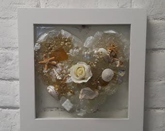 Mixed Media Shades of Gold Glass Heart Frame