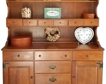vintage Ethan Allen hutch, buffet table, buffet table with hutch, antique furniture, antique hutch, rock maple hutch