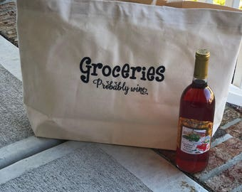 Groceries probably wine tote, reusable grocery bag, fun tote bag